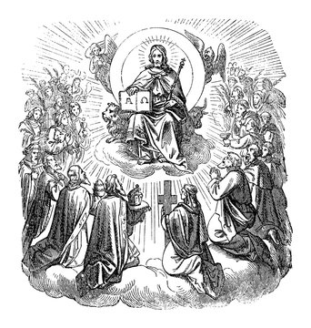 Antique vintage biblical religious engraving or drawing of Jesus Christ sitting as king on throne in heaven surrounded by apostles and believers.Bible, New Testament,Biblische Geschichte , Germany