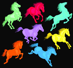 Vector illustration. Running multi-colored horses. The concept of freedom and movement.