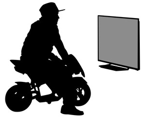 Wall Mural - Young man on a motorcycle plays a video game. Isolated silhouette of a man on a white background