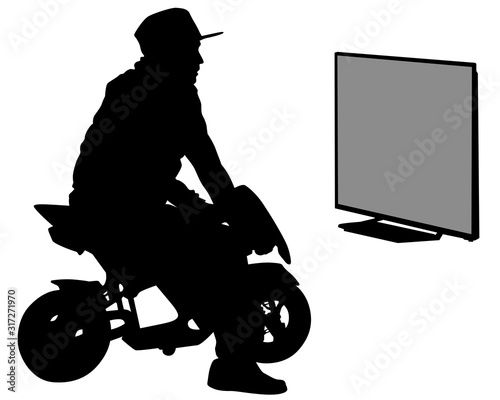 Wall mural Young man on a motorcycle plays a video game. Isolated silhouette of a man on a white background