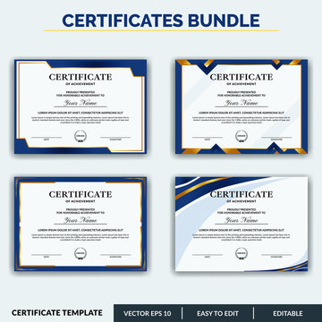 Stylish modern elegant certificate of achievement award template with badge. Certificate for award, appreciation, diploma, company, honor. Modern Certificate template design for any business needs.