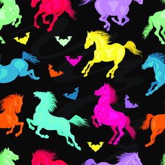 Vector. Running horses seamless pattern. Set of colorful objects. Drawing for fabric, wrapping paper.