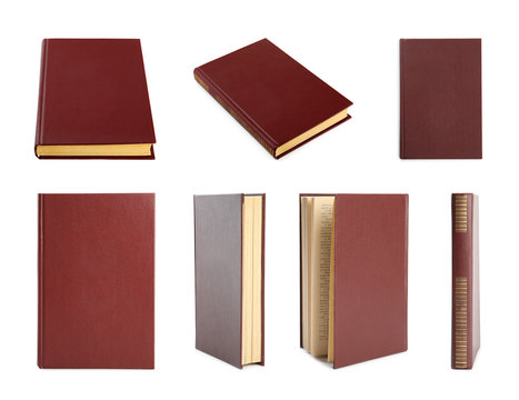 Set of hardcover books on white background