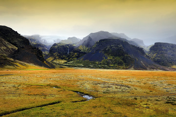 Wall Mural - Alpine landscape in Skaftafell Natural Park, Iceland, Europe