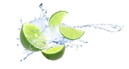 Ripe limes and splashing water on white background Wall mural