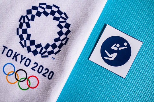 TOKYO, JAPAN, JANUARY. 20. 2020: Volleyball pictogram for summer olympic game Tokyo 2020
