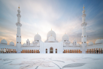 Photo Blinds Abu Dhabi Sheikh Zayed große Moschee in Abu Dhabi – Panoramablick bei Tag
