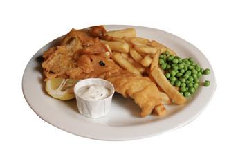 piatto di pesce impanato e fritto con piselli e salsa