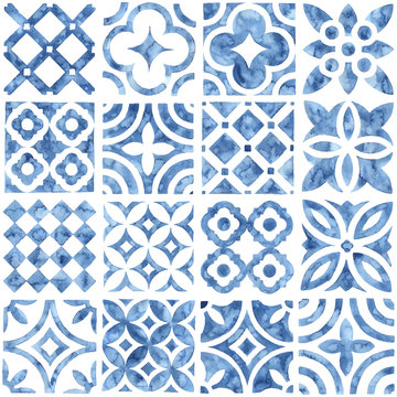 Tile seamless watercolor pattern. Blue and white patchwork style ornament. Hand made paint on paper. Print for textiles. Vector illustration.