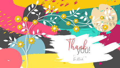 Thank You Lettering Greeting Card Vector.