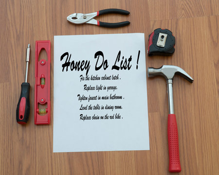 DIY honey do list with items that need repairing in a home or household .
