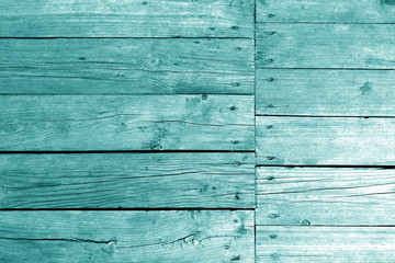 Old wooden wall in cyan tone.