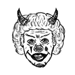 Portrait of evil clown with horns and grin. A sketch, grunge, doodles. Isolated vector illustration drawn by hand.