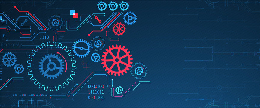 Abstract technology concept. Background with various cogwheels. Vector illustration.