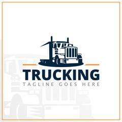 monochrome truck logo for delivery company