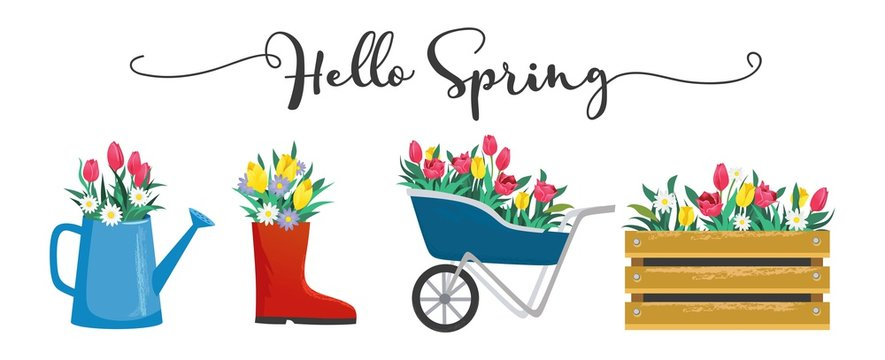 Hello spring cute card with blossoms and lettering vector illustration. Blooming flowers in shoe wooden box and watering can flat style. Greeting template and warm season concept. Isolated on white