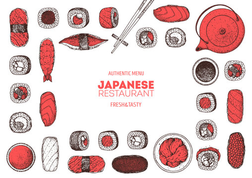 Sushi and rolls vector illustration. Hand drawn sketch. Japanese food menu design. Vintage vector elements for japanese cuisine menu. Retro style design. Food and drink collection. Sushi sketch.