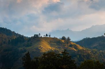 Ella Rock landscape in small town Ella in Sri Lanka