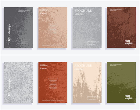 Minimalistic cover design templates. Set of layouts for covers of books, albums, notebooks, reports, magazines. Vintage texture gradient effect, flat modern abstract design. Grunge mock-up texture