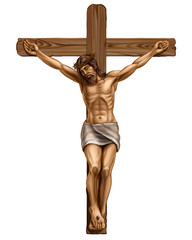 Jesus Christ crucified on the cross. Hand-drawn, artistic image of a wooden cross with the crucified Jesus Christ on a white background.