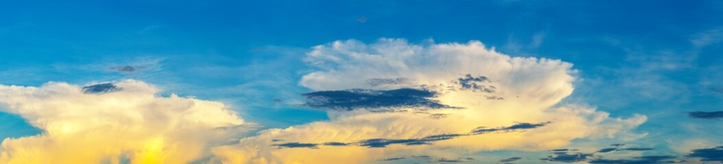 Dramatic colorful nice clound sky before sunset, panoramic sky background