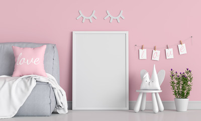 Empty photo frame for mockup in child room