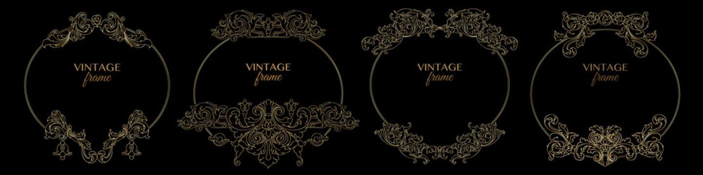 Set of decorative vintage golden frames and retro patterns. Vector.