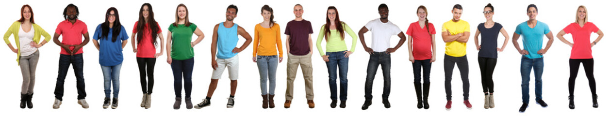Group of young people collection smiling happy multicultural multi ethnic full body standing in a row Fotobehang