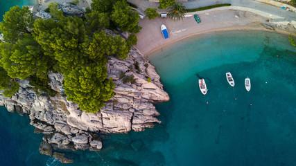 Overhead view of coastline with boats moored in sea, Brela, Croatia