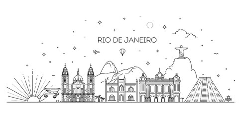 Rio de Janeiro detailed Skyline. Travel and tourism background