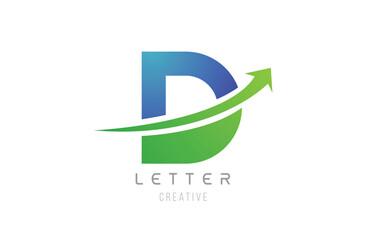 green blue swoosh arrow letter alphabet D for company logo icon design