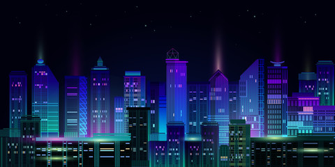 Night city panorama with neon glow on dark background. Vector.