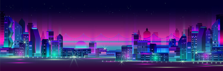 Night city panorama with neon glow on dark background. Vector. Wall mural