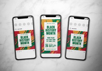 Black History Month Social Media Post Layout Set with Abstract Background