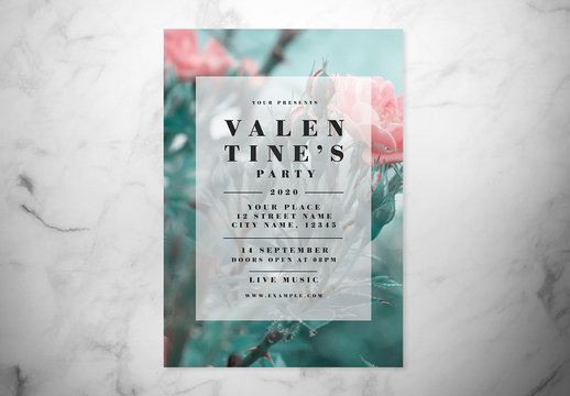 Valentine's Day Event Flyer Layout with Light Pink Border