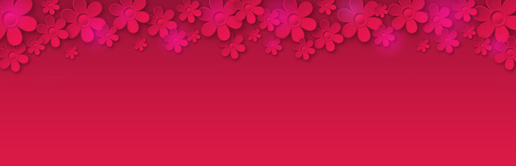 Wall Mural - Red banner with flowers. Holiday modern floral banner. Horizontal holiday background, headers, posters, cards, website. Illustration