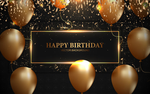 Elegant happy birthday design template with golden balloons and shiny confetti element decoration for use, greeting card, celebrating poster, banner event, festival flyer, grand opening corporate