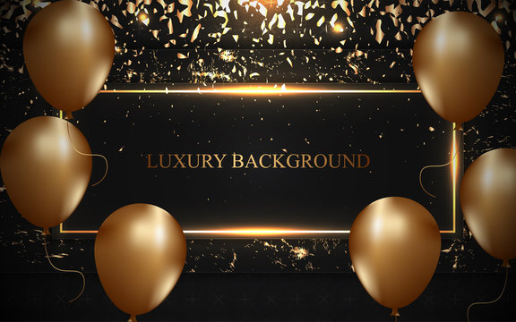Luxury black frame background with golden balloons and shiny confetti decoration. Can use element greeting card, celebrating poster, banner event, festival flyer, grand opening corporate