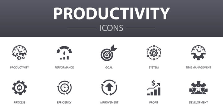 Productivity simple concept icons set. Contains such icons as performance, goal, system, process and more, can be used for web, logo, UI/UX