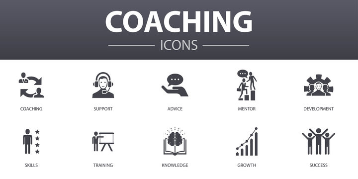 coaching simple concept icons set. Contains such icons as support, mentor, skills, training and more, can be used for web, logo, UI/UX