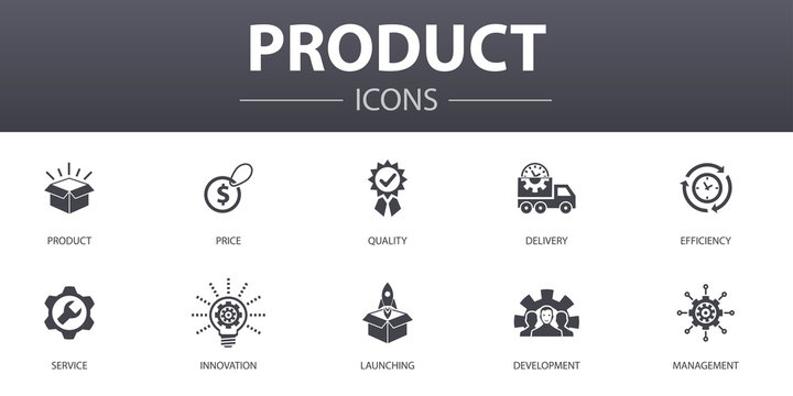 product simple concept icons set. Contains such icons as price, quality, delivery, development and more, can be used for web, logo, UI/UX