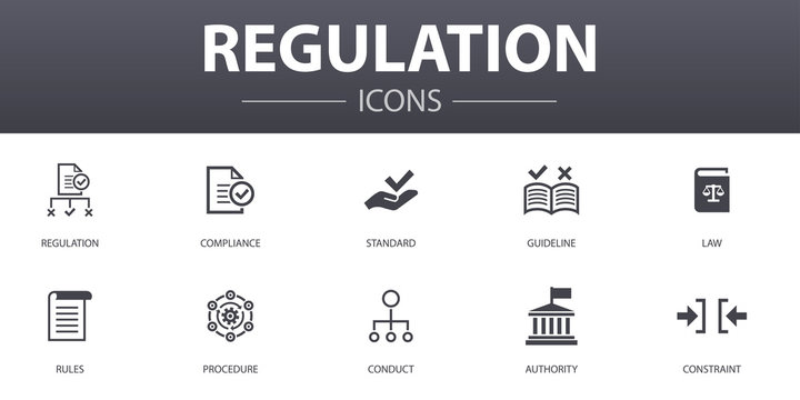 regulation simple concept icons set. Contains such icons as compliance, standard, guideline, rules and more, can be used for web, logo, UI/UX