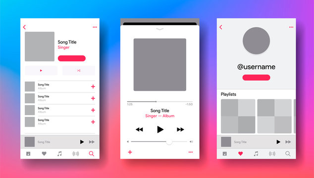 Social media network inspired by Apple Music. Mobile app interface. Subscription music player. Profile, Album, Song, Playlist mockup. Applemusic screen. Vector illustration.
