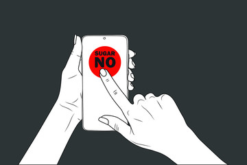 NO SUGAR - frase. female hands hold a smartphone, finger points. eps10 vector stock