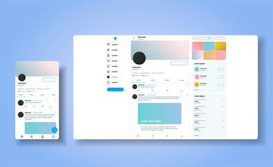 Social media network inspired by twitter. Ui Ux web responsive template of tweeter account. Mobile social media app and desctop. User profile, followers, and tweet mock up.  Vector illustration