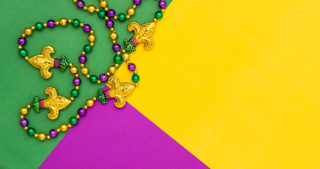 Mardi gras decoration beads Colorful background