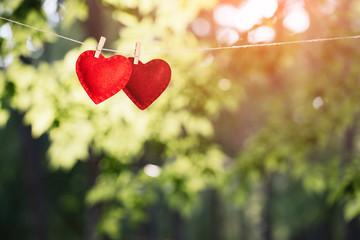 Fototapeta Valentine's day background with red hearts obraz