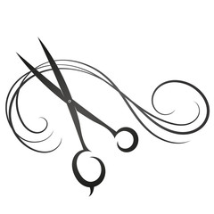 Scissors and curls hair silhouette for beauty salon and hairdresser