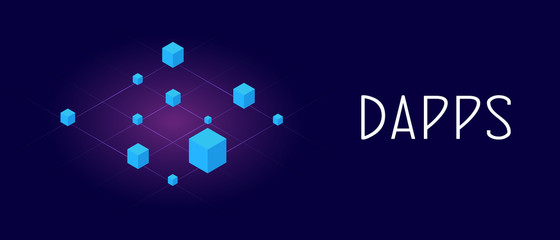 Decentralized Application on ethereum or bitcoin blockchain technology (Dapps). Fintech Open-source software and Smart Contract concept. Header and footer banner template with text