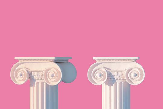 White ancient column pedestal isolated pink museum piece background, Greek pillar platform, 3d rendering